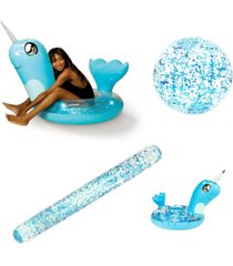 poolcandy 4pc narwhal swimming pool party pack