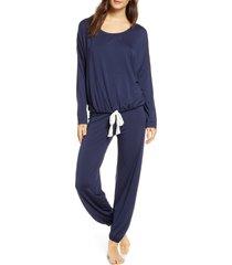 women's eberjey gisele slouchy pajamas, size large - blue