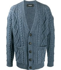 dsquared2 chunky cable knit double pocket cardigan - blue