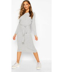 rib knitted midaxi belted dress, silver grey