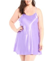 icollection plus size lila satin ultra soft chemise nightgown, online only