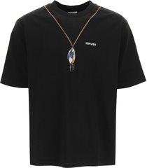 marcelo burlon single chain feathers oversized t-shirt