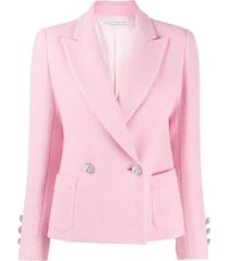 alessandra rich double-breasted fitted blazer - pink