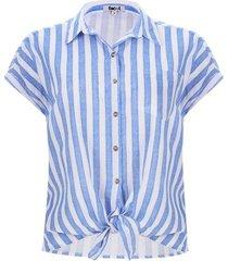 camisa con nudo a rayas color blanco, talla 16