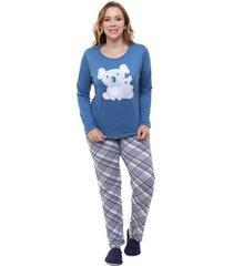 pijama feminino longo plus size família coala