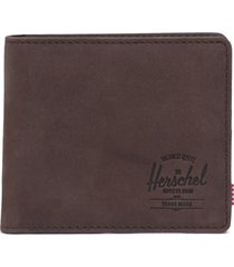men's herschel supply co. xl roy leather rfid bifold wallet - brown