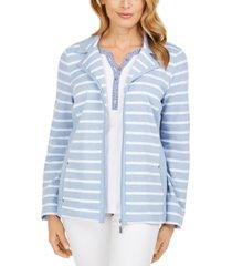 karen scott striped notched-lapel sweatshirt, created for macy's