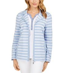 karen scott petite french terry striped jacket, created for macy's