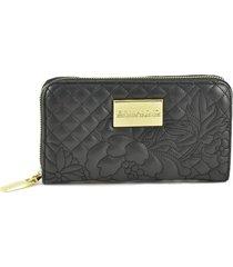 ermanno scervino black quilted womens zip wallet