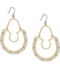 lucky brand gold-tone imitation pearl statement hoop drop earrings