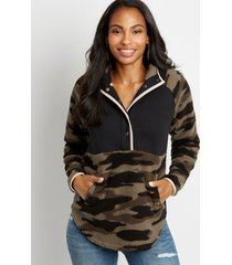maurices womens camo quilted snap front sherpa pullover sweatshirt green