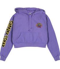 women's cross colours black lives are loved crop sweatshirt, size small - purple