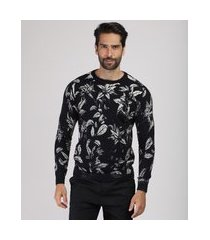 suéter masculino estampado floral em tricô gola careca preto
