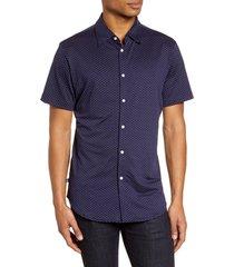 men's mizzen+main spinnaker trim fit short sleeve button-up performance shirt, size small - blue