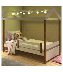 cama montessoriana com led isa branco e mel  casah