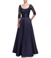 la femme lace & mikado a-line gown, size 8 in navy at nordstrom