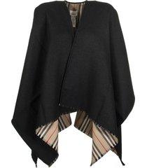 burberry icon stripe wool cape black scarves