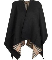 burberry icon stripe wool cape black scarves