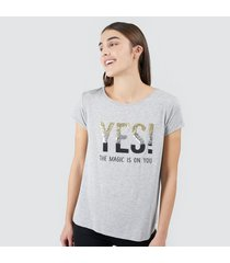 camiseta mujer lentejuelas yes