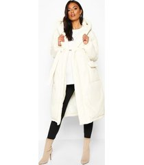 maternity belted padded jacket, white