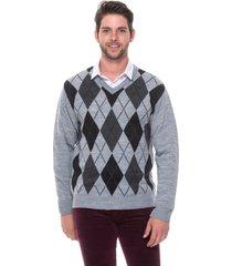 blusa jacquard escocês passion tricot cinza claro