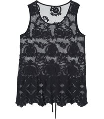 blusa de alã§as largas em tule bordado intimissimi tule preto - preto - feminino - dafiti