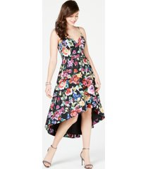aidan by aidan mattox floral-print high-low dress