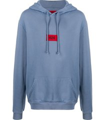 424 embroidered logo cotton hoodie - blue