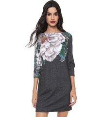 vestido desigual curto floral grafite