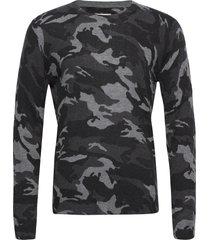 kennedy cp camou feather cashmere all over stickad tröja m. rund krage grå zadig & voltaire