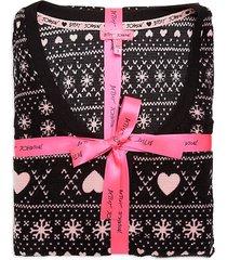 fairisle heart-print waffle fleece pajama set
