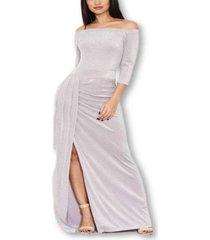 ax paris women's off the shoulder sparkle maxi dress