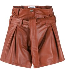 cognac leather shorts
