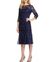 women's alex evenings lace midi dress, size 12 - blue