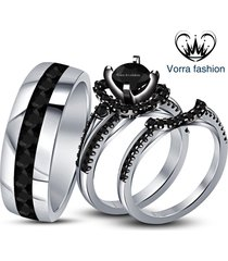 14k white gold plated pure 925 silver black diamond bride & groom trio ring set