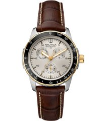 nautica men's n11502g wind seeker multifunction brown/two-tone leather strap watch