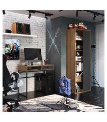 mesa para computador 1 gaveta + livreiro office trevalla cf-008 grafite e mel