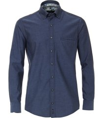 casamoda overhemd print contrast chambray button down casual fit