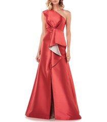 women's kay unger riley one-shoulder ruffle gown