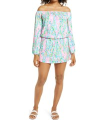 women's lilly pulitzer lana off the shoulder long sleeve skort romper