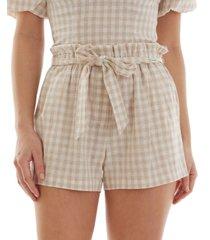 bcx juniors' cotton gingham paperbag shorts