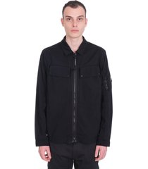 c.p. company casual jacket in black synthetic fibers