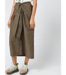 ganni women's seersucker check midi skirt - kalamata - eu 42/uk 14