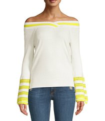 varsity stripe off-the-shoulder bell sleeve sweater