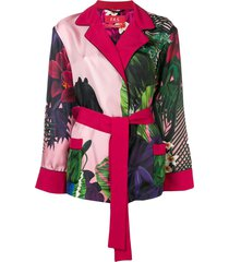 f.r.s for restless sleepers floral print belted jacket - pink