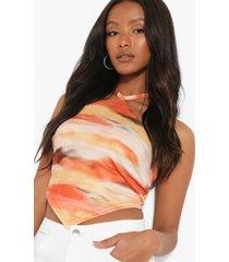 petite tie dye hemdje met halter neck, orange
