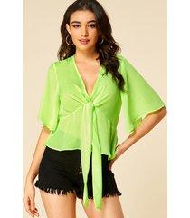 blusa de media manga con cuello en v profundo verde neón de yoins