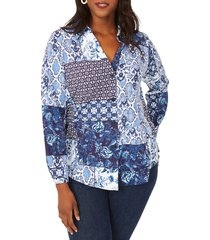 plus size women's foxcroft paityn mixed print jersey top, size 3 x - blue