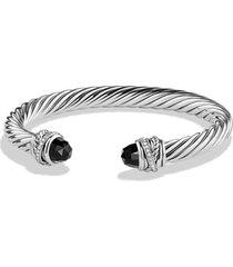 david yurman crossover bracelet with diamonds, size medium in black onyx at nordstrom