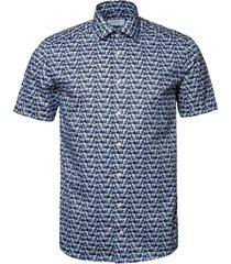 men's eton glass slim fit short sleeve button-up shirt, size 16 - blue